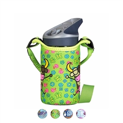 Laken Kukuxumusu Tritan Kids Straw Water Bottle, 15 Ounces, /w Neoprene bottle carrier with strap
