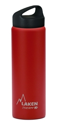 Laken Classic Thermo Vacuum Insulated Stainless Steel Water Bottle Wide Mouth with Loop Cap 25oz - Red