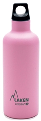 Laken Futura Thermo Vacuum Insulated Stainless Steel Water Bottle Narrow Mouth with Loop Cap 17oz Pink