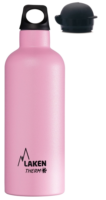 Thermo Insulated Stainless Steel Water Bottle, Narrow Mouth Bottle with a Screw Cap, Plus a Sport Cap, 17oz