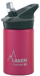 Laken Thermo Jannu Vacuum Insulated Stainless Steel Water Bottle Wide Mouth with Straw Cap 12oz Fuchsia