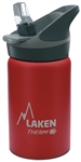 Laken Thermo Jannu Vacuum Insulated Stainless Steel Water Bottle Wide Mouth with Straw Cap 12oz Red