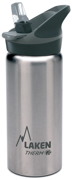 Laken Thermo Jannu Vacuum Insulated Stainless Steel Water Bottle Wide Mouth with Straw Cap 17oz Plain/Silver