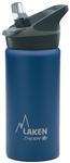 Laken Thermo Jannu Vacuum Insulated Stainless Steel Water Bottle Wide Mouth with Straw Cap 17oz Blue