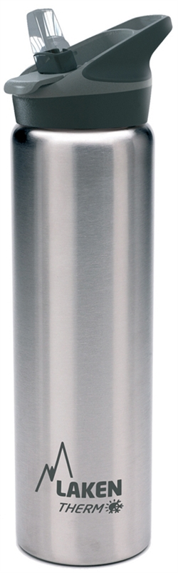 Laken Thermo Jannu Vacuum Insulated Stainless Steel Water Bottle Wide Mouth with Straw Cap 25oz Plain/Silver