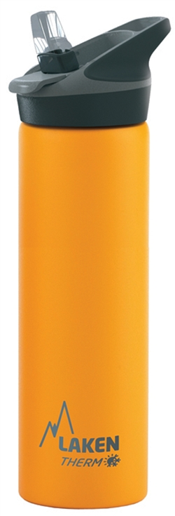 Laken Thermo Jannu Vacuum Insulated Stainless Steel Water Bottle Wide Mouth with Straw Cap 25oz Yellow