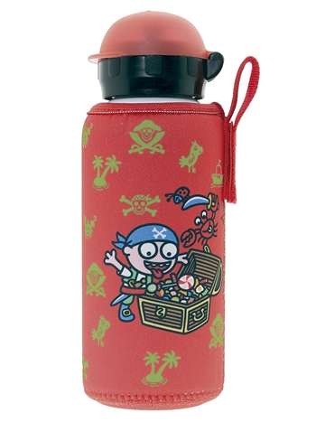 15 oz Aluminum Water Bottle with Leak-Proof Hit Sport Cap and Neoprene Cover, Katuki Saguyaki
