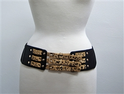 Wide Leopard Stretch Waist Belt