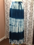 Long Blue Tie Dye Maxi Skirt