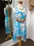 Tropical High Low Dress Blue