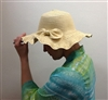 Ruffle Rim Straw Hat with Bow