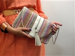 Ray Straw Clutch Pink Tones