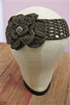 Crochet Flower Headwrap Brown