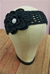 Crochet Flower Headwrap Black