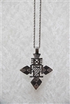 Aztec Cross Necklace Silver Tone