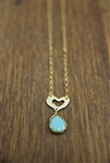 Heart Necklace Blue Stone