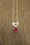 Heart Necklace Red Stone