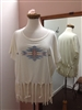 Braided Fringe Aztec TShirt Cream