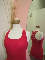 Lace Racer Back Ribbed Tank