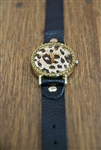 Leopard Face Watch with Black Strap