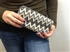 Chevron Print Wallet Grey