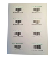 Bar code adhesive card - start inspection (4 wheel) X 8