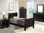 Louis Philippe II 4 Piece Youth Bedroom Set with Hidden Drawers in Black Finish by Acme - 00420T-HD