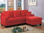 Vogue Reversible Chaise Sectional in Red Color Fabric by Acme - 05917