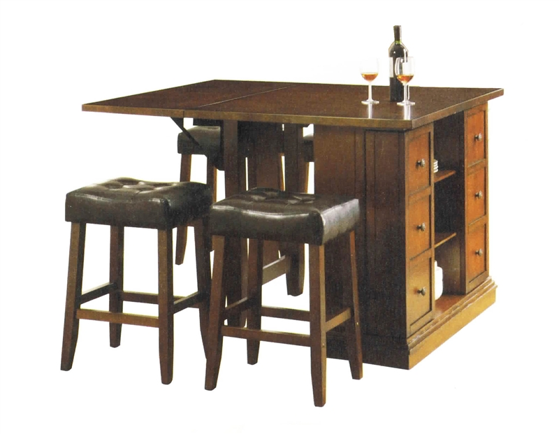 Kitchen Island Dark Oak Finish Counter Height 3 Piece Table Set by ...