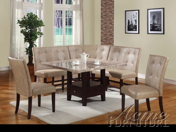 britney white marble 6 piece corner dining set by acme 10280. Black Bedroom Furniture Sets. Home Design Ideas