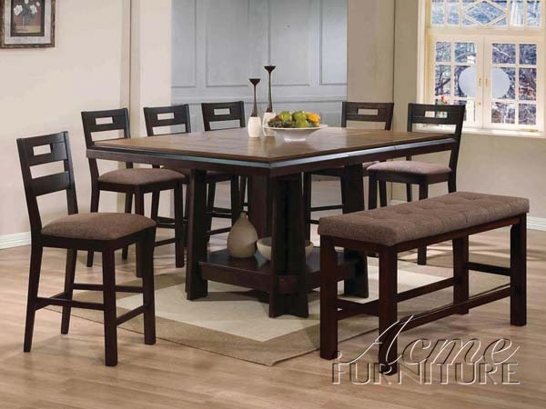 harrison 5 piece counter height dining set in espresso finish by acme
