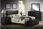 Ireland Black Upholstered Bed Youth Bedroom Set in Black Finish by Acme - 14440