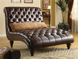 Anondale brown leather chaise by acme 15035 for Black friday chaise longue