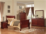 Louis Philippe III 4 Piece Youth Bedroom Set in Cherry Finish by Acme - 19530T
