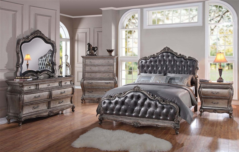 chantelle 6 piece bedroom set in antique silver finish by