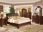 Top Grain Brown Leather Headboard 6 Piece Saint Clair Bedroom Set in Cherry Finish by Acme - 4660