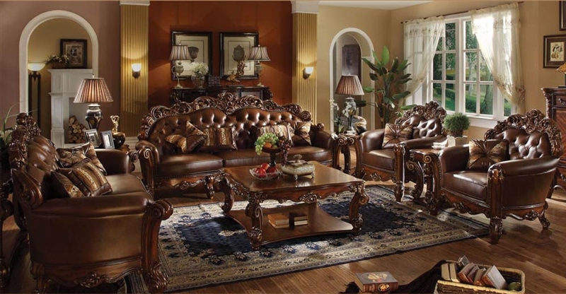 Vendome 6 Piece Complete Living Room Set In Cherry Finish By Acme 52000 6