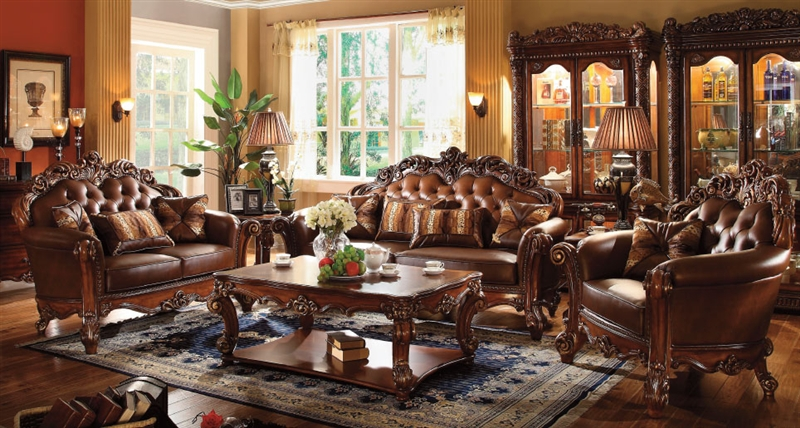 Vendome 2 Piece Sofa Loveseat Set In Cherry Finish By Acme