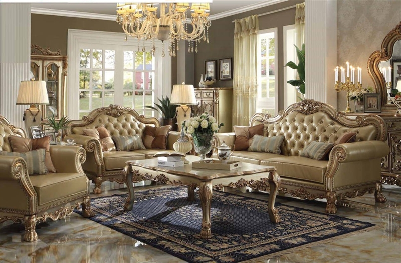Dresden 2 Piece Living Room Set In Gold Patina Finish By