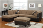 Connell Sectional in Light Brown Corduroy / Espresso PU by Acme - 55945