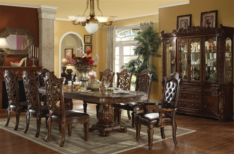 Vendome 7 piece double pedestal table dining set in cherry for Elegant dining room furniture