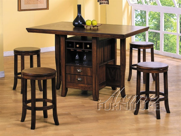 hill counter height kitchen island set in oak finish by acme 6300