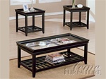 Ava Glass Top 3pc Coffee/End Table Set in Espresso Finish by Acme - 6362