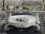Versailles Round Glass Top Coffee Table in Bone White Finish by Acme - 82085