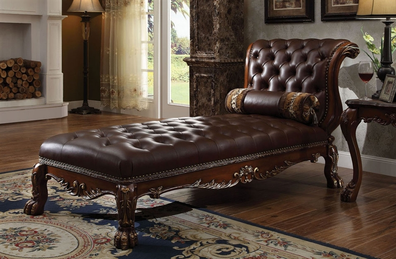 Dresden upholstered chaise in cherry finish by acme 96487 for Sofa 9 dresden