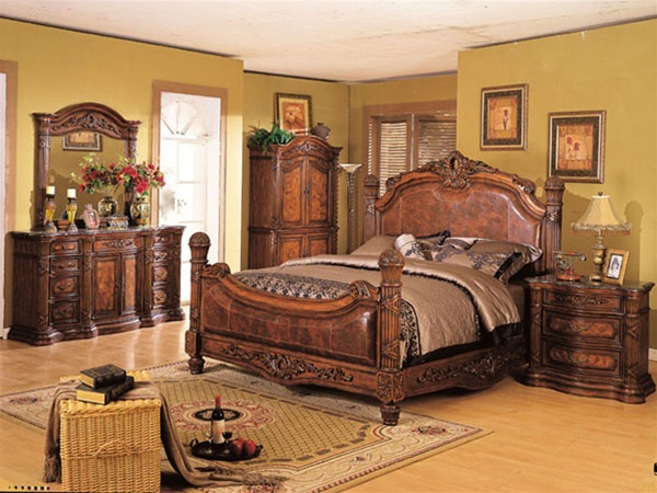 6 Piece Florence Bedroom Set In Distressed Oak Finish By Acme 9760