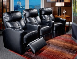 Tangier Theater Seating - 3 Black Leather Chairs By Berkline - Berkline 13175