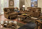 "Concord 2 Piece ""Lay Flat"" Reclining Sofa Set in ""Pecan"" Color Fabric by Catnapper - 1421-S"