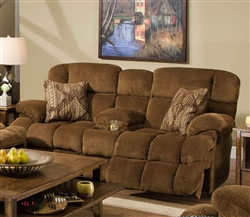 "Concord ""Lay Flat"" Reclining Console Loveseat in ""Pecan"" Color Fabric by Catnapper - 1429"
