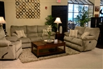 "Gavin 2 Piece Reclining Sofa Set in ""Taupe"" Color Fabric by Catnapper - 1451-S-T"